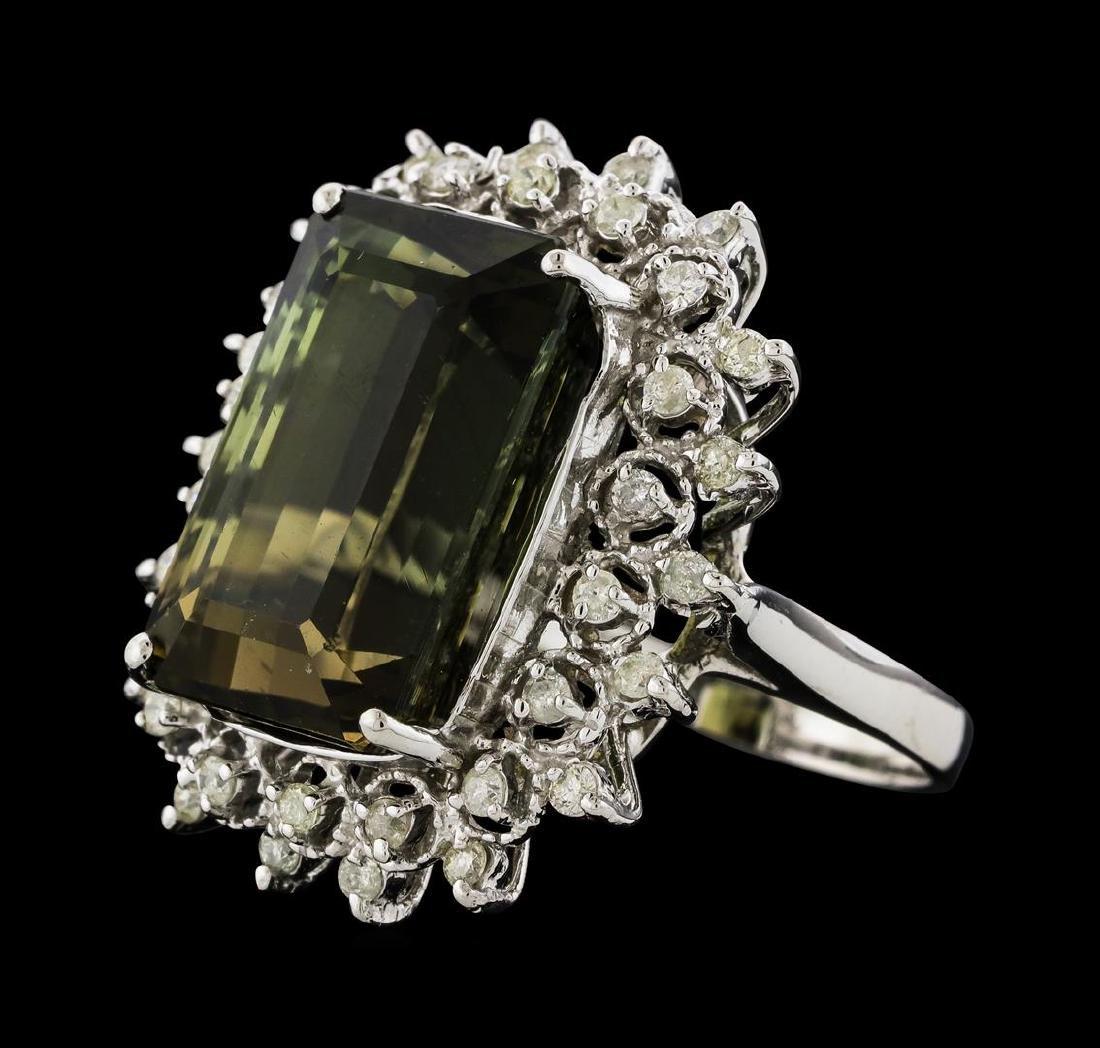 15.32 ctw Green Tourmaline and Diamond Ring - 14KT