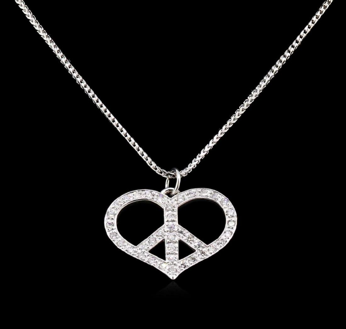 1.10 ctw Diamond Heart Pendant With Chain - 14KT White