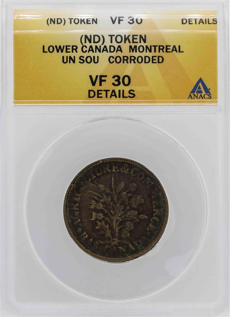 ND Canada-Montreal Un Sou Coin ANACS VF30 Details
