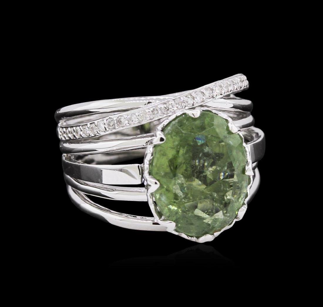 4.70 ctw Green Tourmaline and Diamond Ring - 14KT White