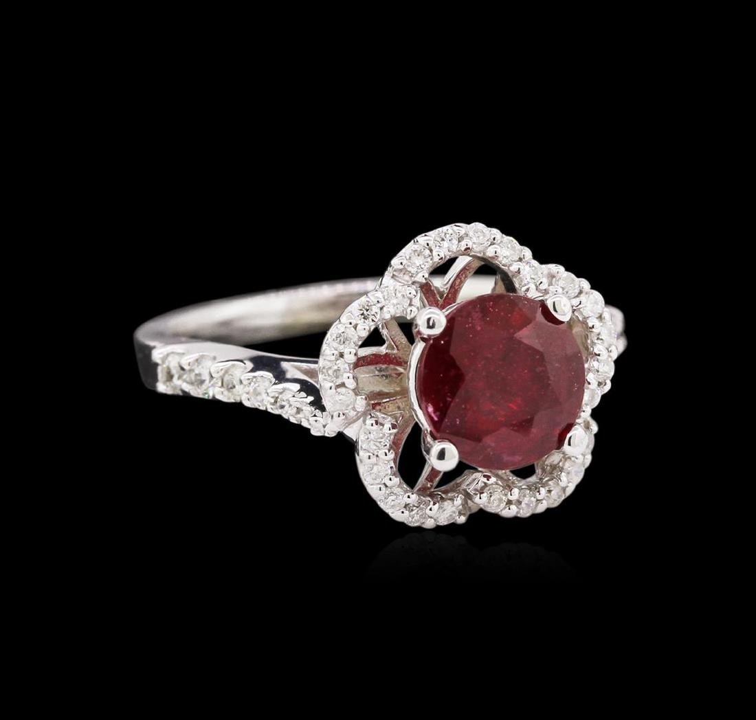 1.87 ctw Ruby and Diamond Ring - 14KT White Gold