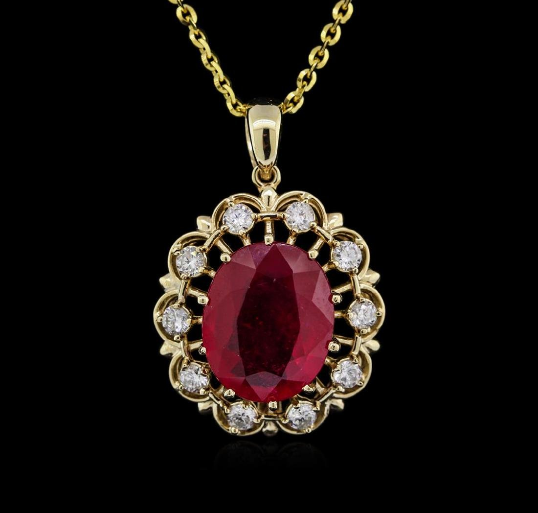 14KT Yellow Gold 11.11 ctw Ruby and Diamond Pendant