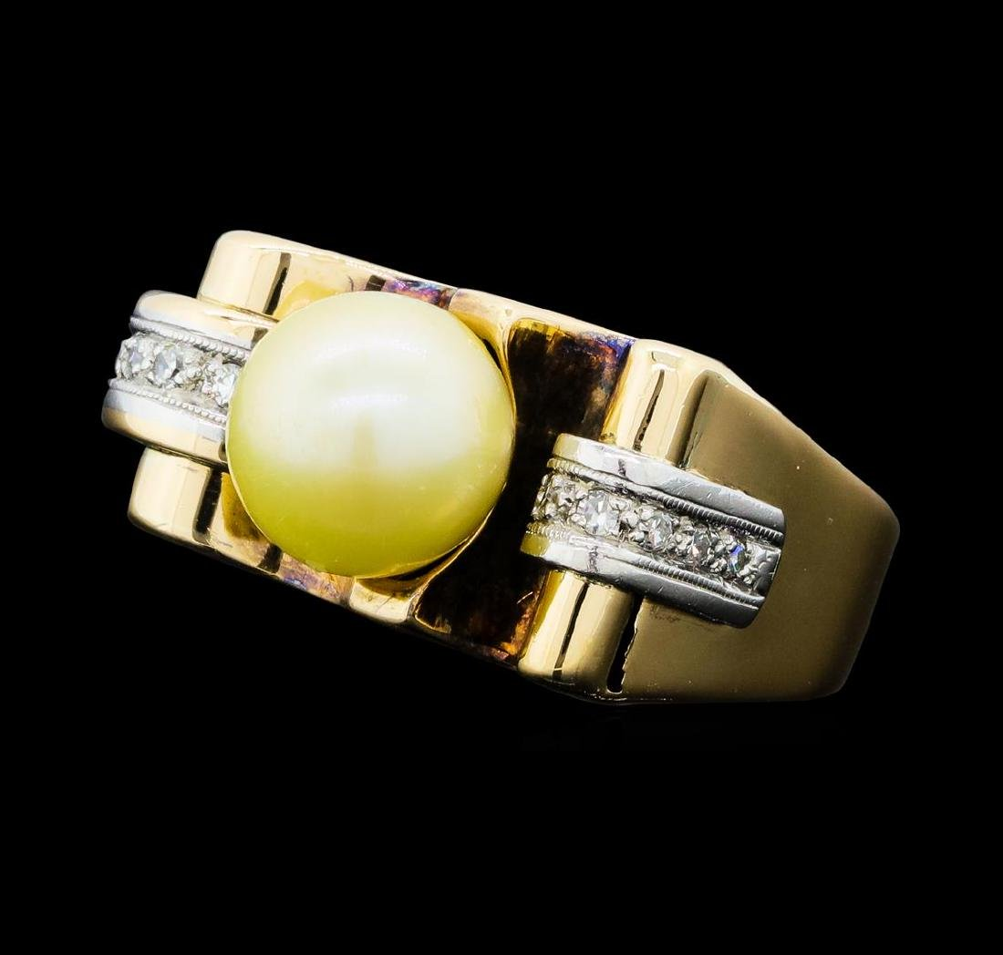 0.10 ctw Diamond and Pearl Ring - 14KT Yellow and White