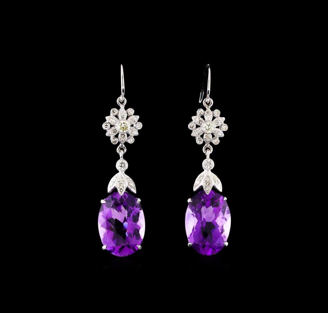9.17 ctw Amethyst and Diamond Earrings - 14KT White