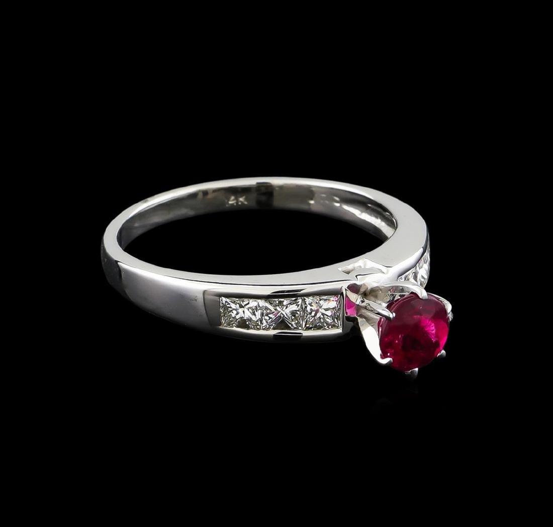 0.75 ctw Pink Tourmaline and Diamond Ring - 14KT White