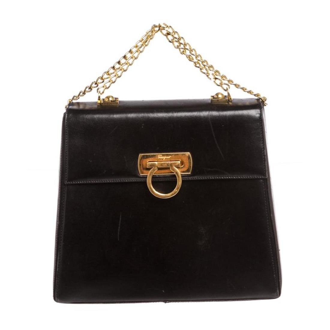 Salvatore Ferragamo Black Leather Chain Link Shoulder