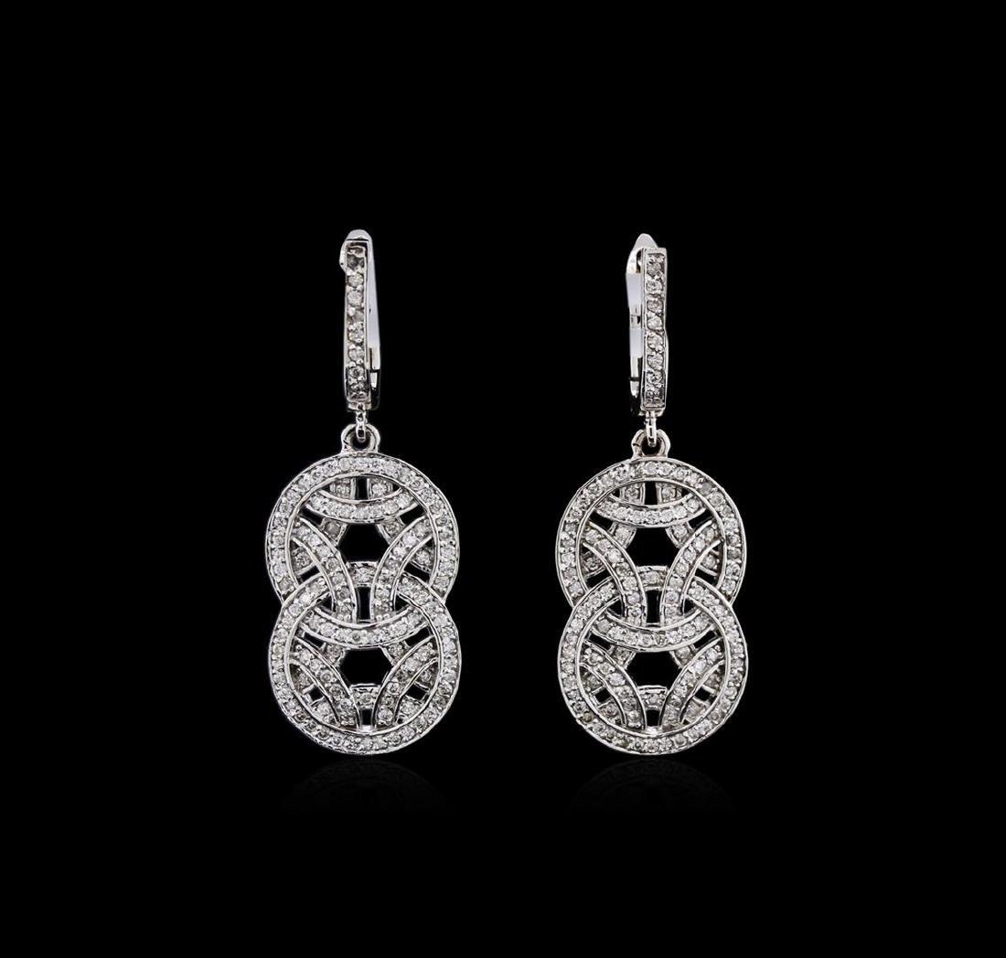 1.01 ctw Diamond Dangle Earrings - 14KT White Gold