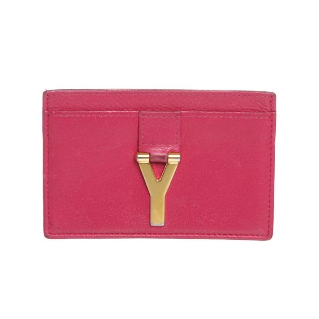 Saint Laurent YSL Pink Leather Y Cardholder Wallet