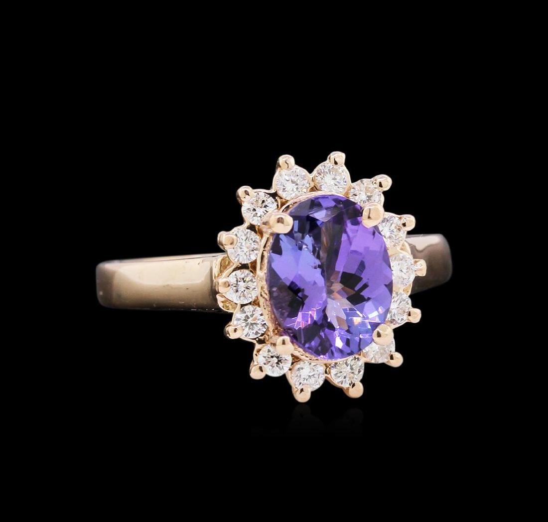 1.55 ctw Tanzanite and Diamond Ring - 14KT Rose Gold