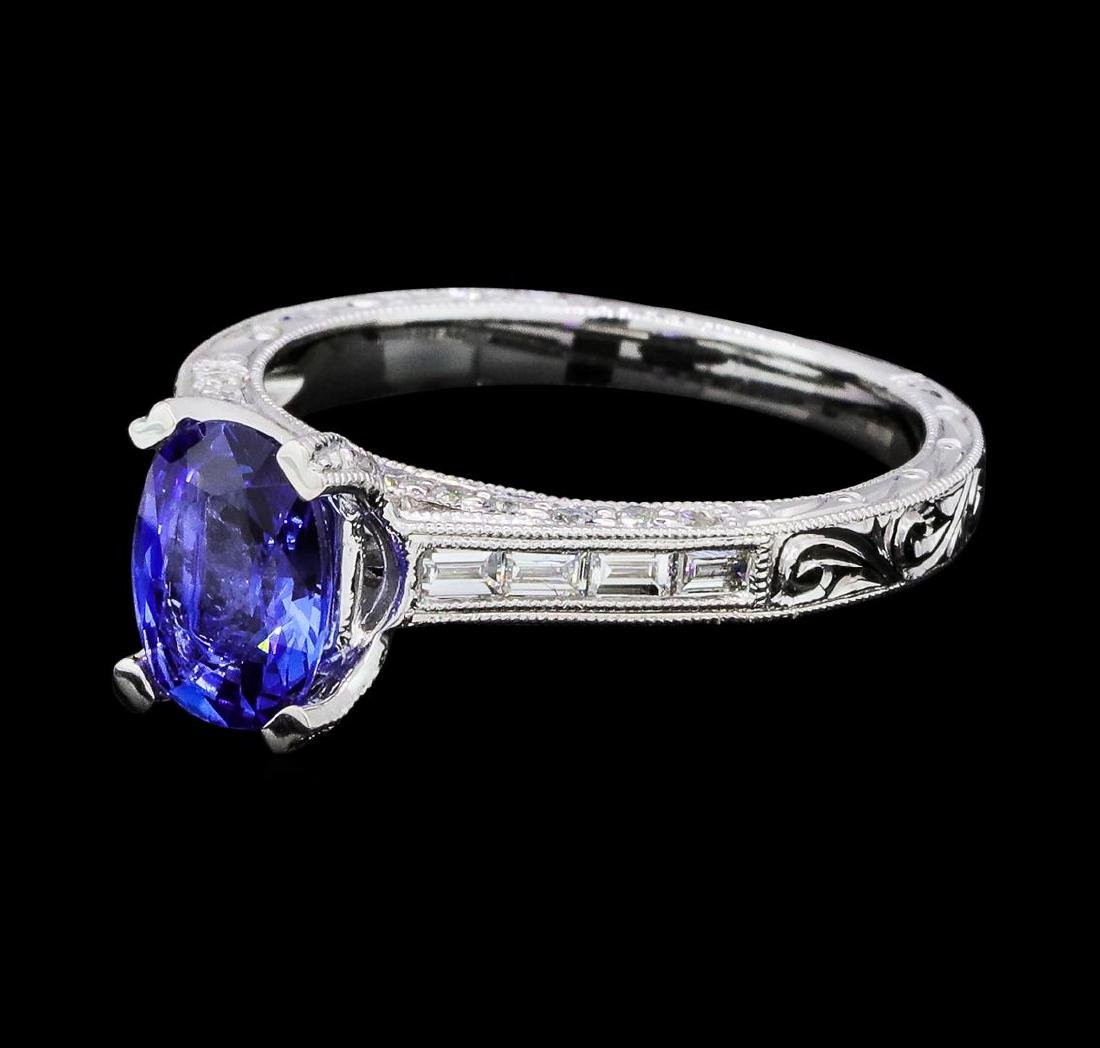 1.41 ctw Sapphire and Diamond Ring - 18KT White Gold
