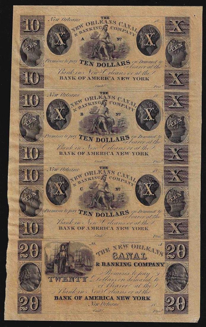 Uncut Sheet of $10 New Orleans Canal & Banking Company