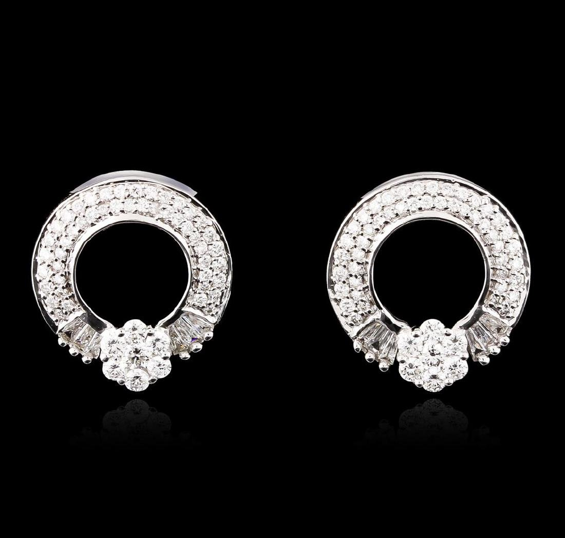 18KT White Gold 1.58 ctw Diamond Earrings