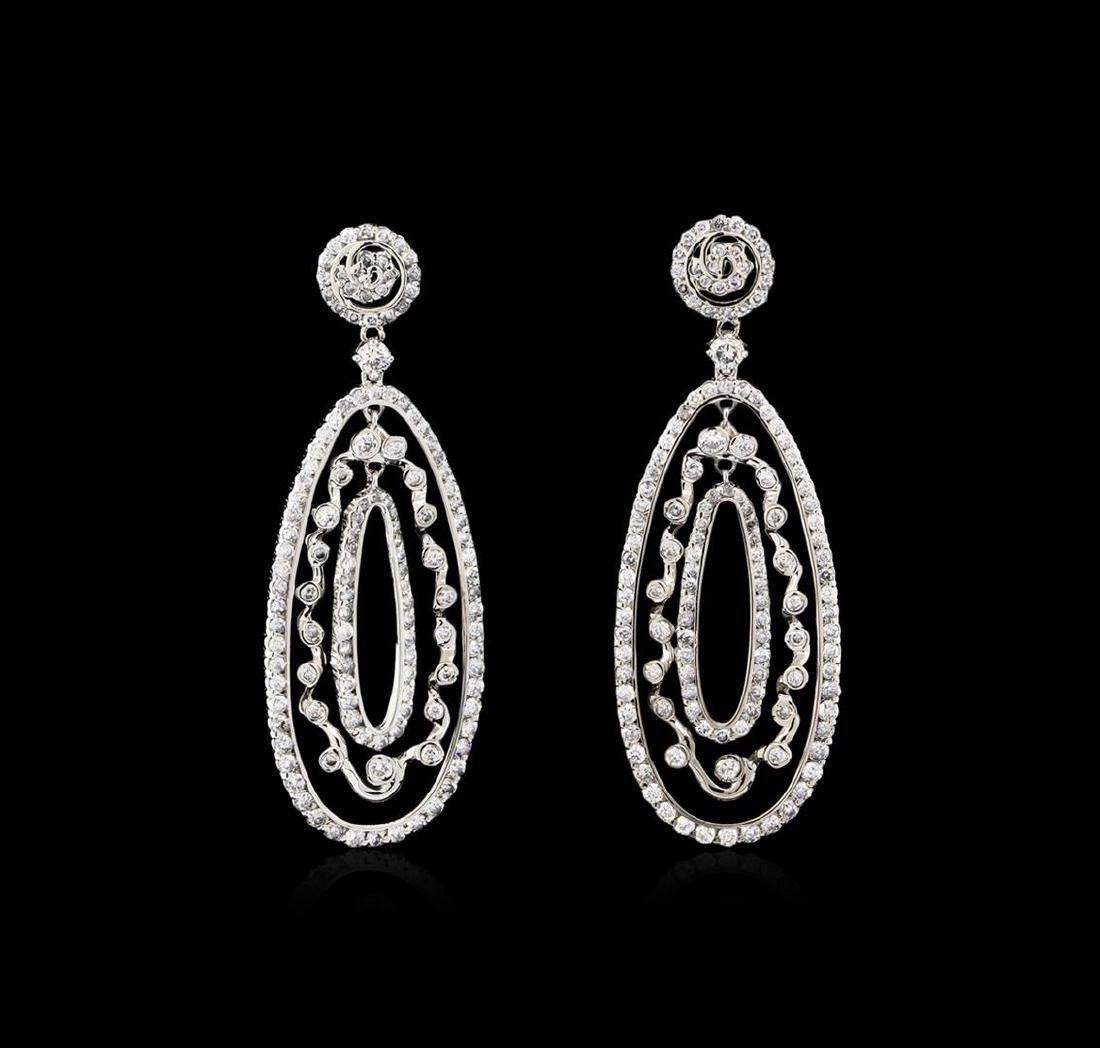3.21 ctw Diamond Dangle Earrings - 14KT White Gold