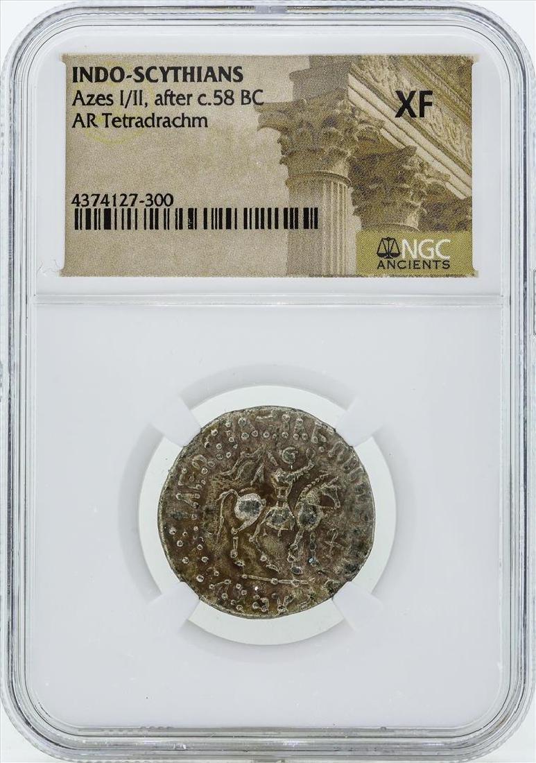 58 BC Indo Scythians Azes I/II AR Tetradrachm Coin NGC