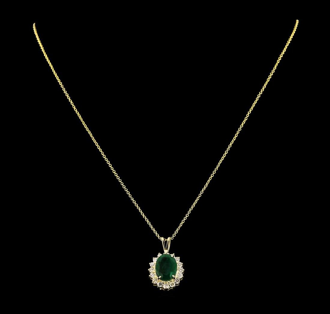 3.88 ctw Emerald and Diamond Pendant With Chain - 14KT