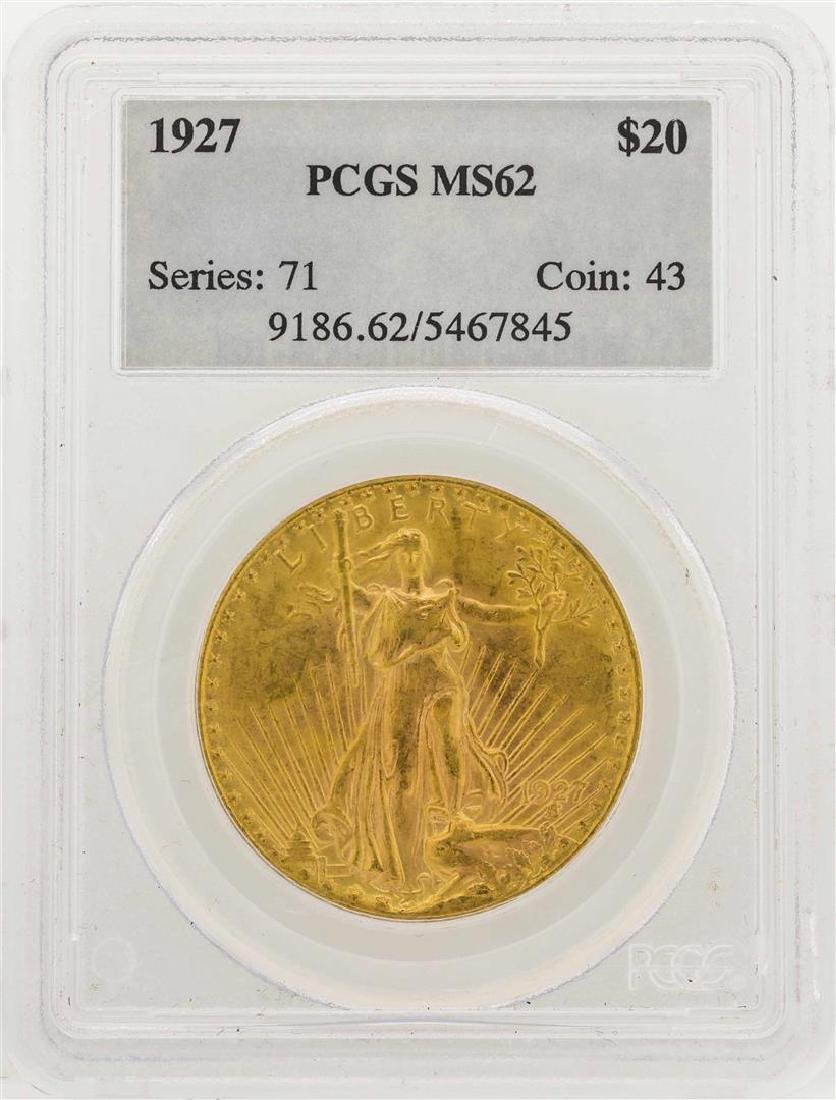 1927 $20 Saint Gaudens Double Eagle Gold Coin PCGS MS62
