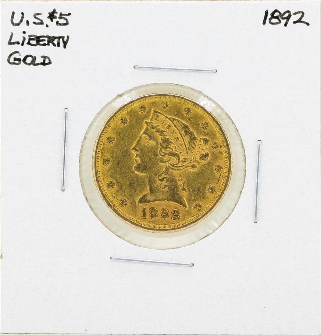 1892 $5 Liberty Head Half Eagle Gold Coin