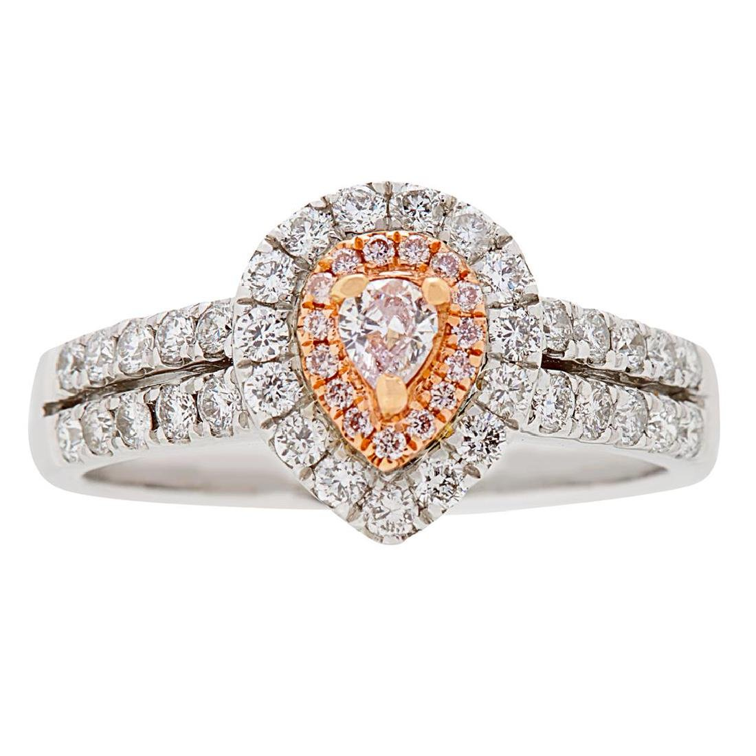 0.76 ctw Pink and White Diamond Ring - 18KT White and