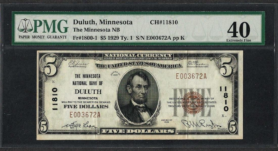 1929 $5 National Currency Note Duluth, MN CH# 11810 PMG
