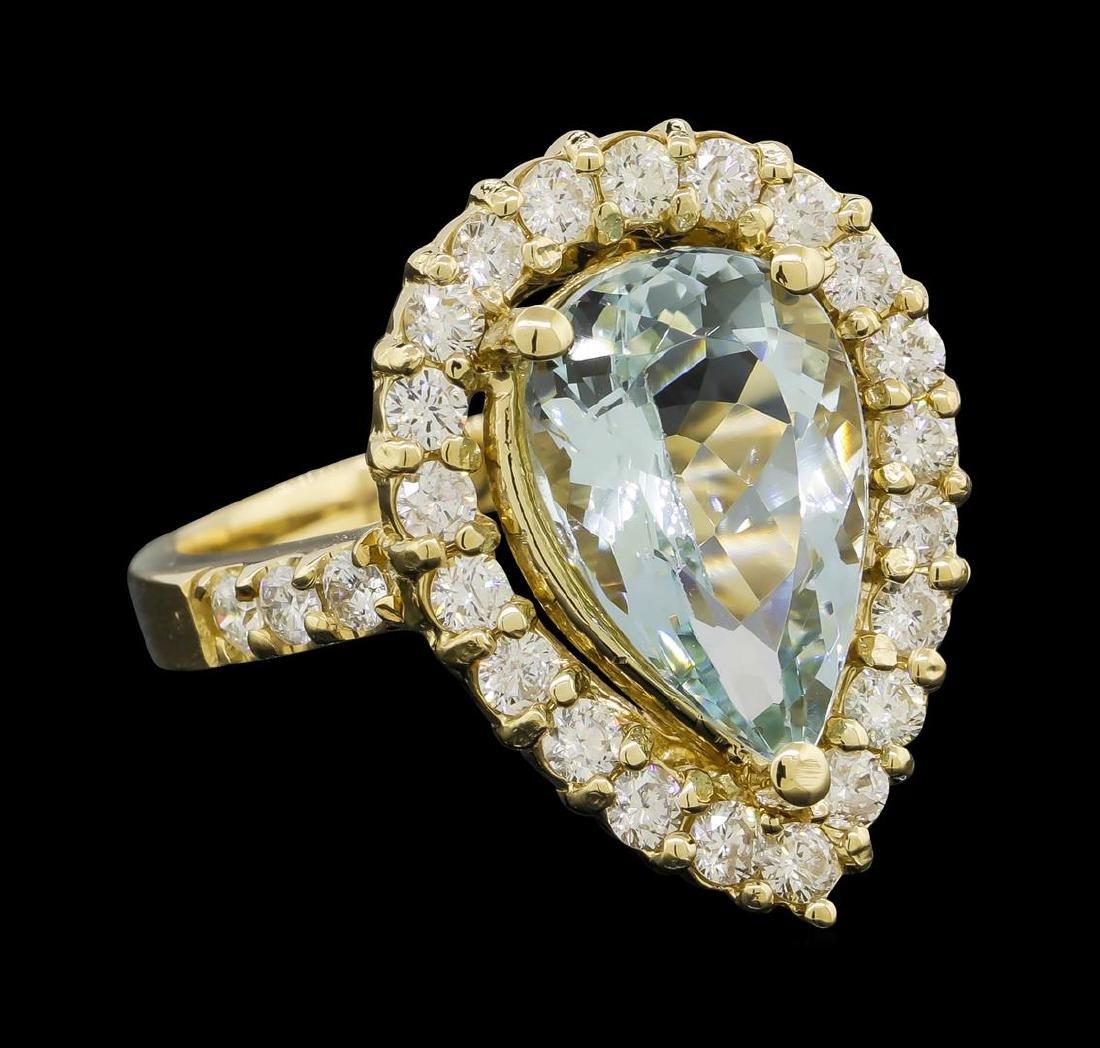 4.08 ctw Aquamarine and Diamond Ring - 14KT Yellow Gold