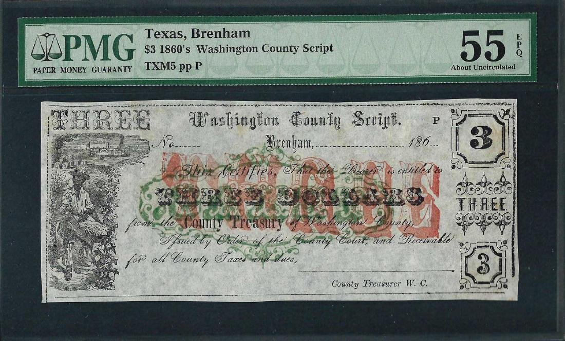 1860's $3 Washington County Script Note PMG About