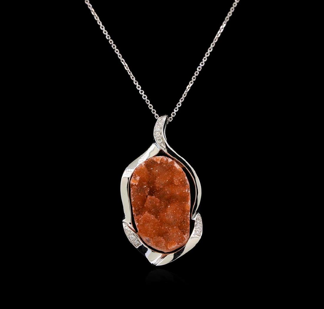10.00 ctw Citrine and Diamond Pendant With Chain - 14KT