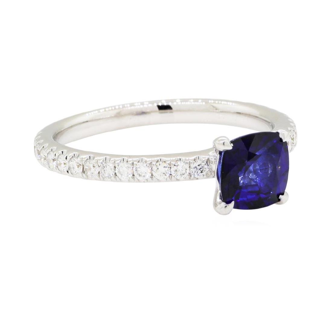 1.08 ctw Sapphire and Diamond Ring - 18KT White Gold