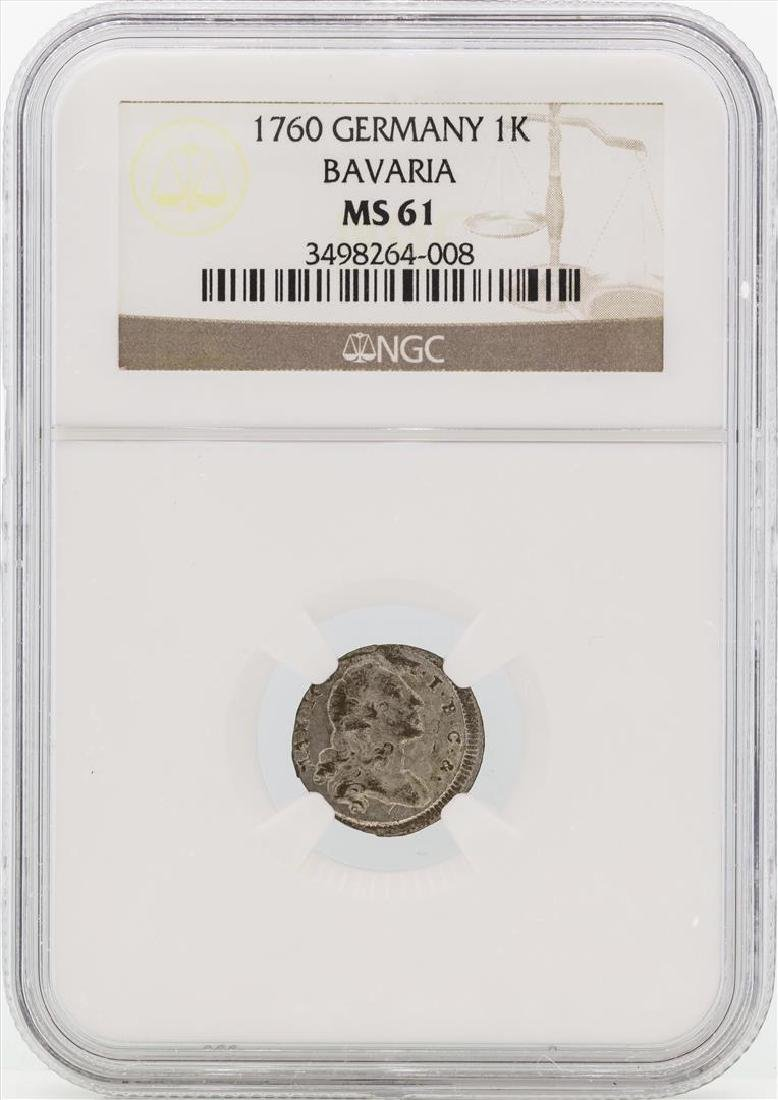 1760 Germany Bavaria 1 Kreutzer Coin NGC MS61