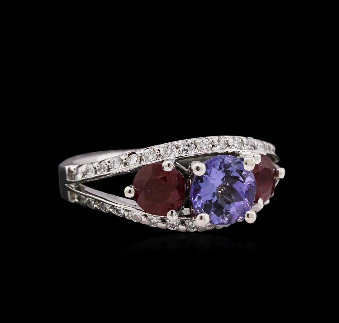 1.27 ctw Ruby, Tanzanite, and Diamond Ring - 14KT White