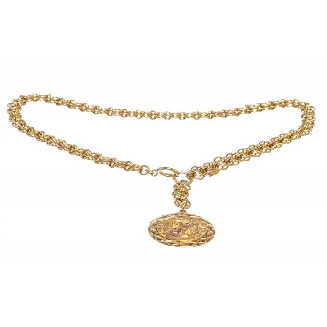 Chanel Gold Chain Link Medallion Long Necklace