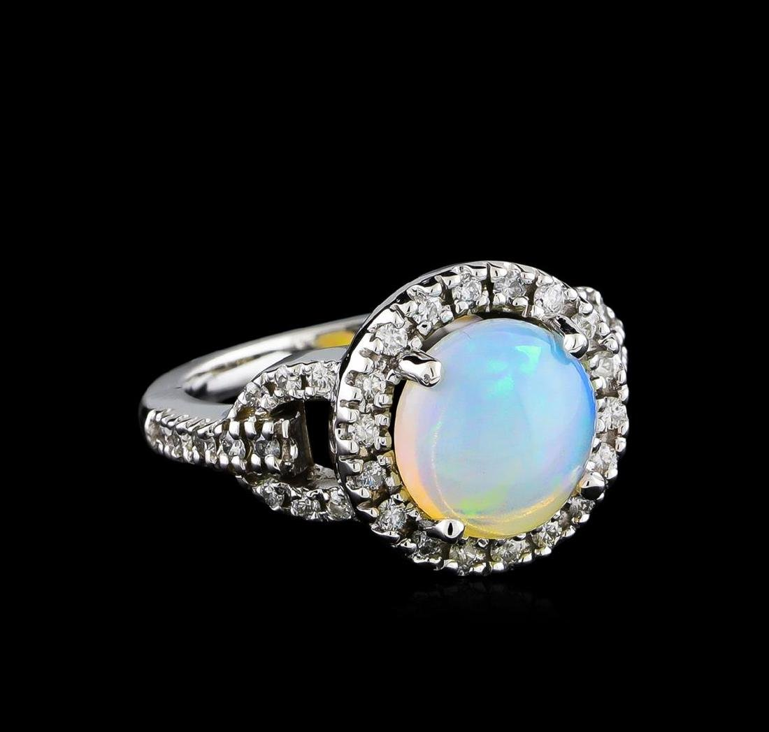 2.17 ctw Opal and Diamond Ring - 14KT White Gold
