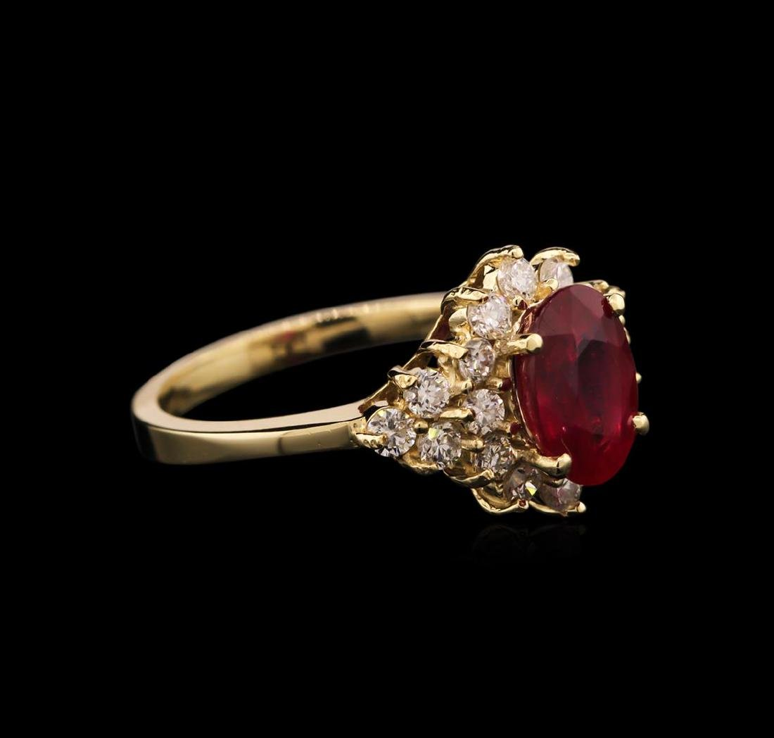 2.53 ctw Ruby and Diamond Ring - 14KT Yellow Gold