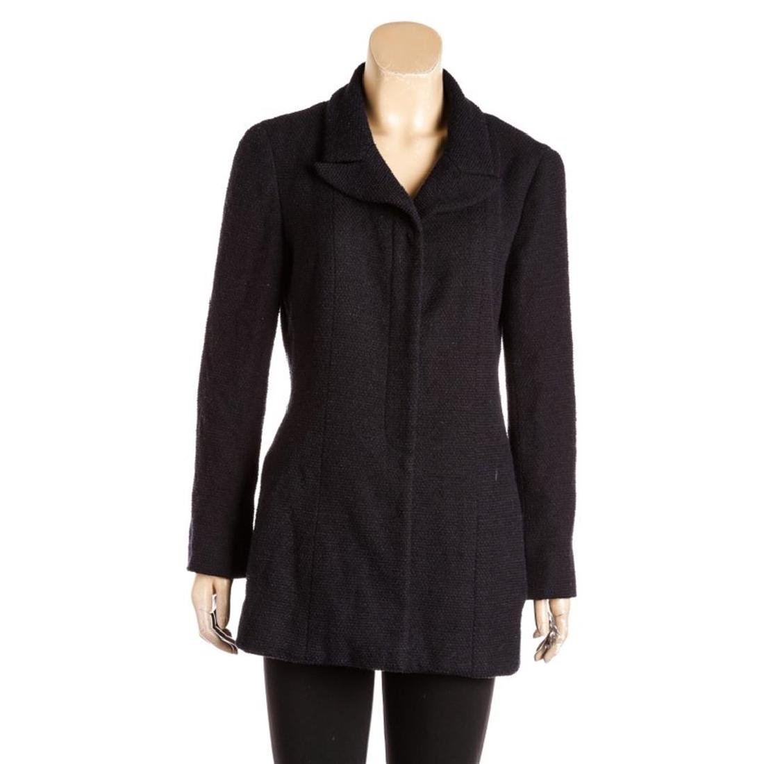 Chanel Navy Blue Tweed Mid-Length Jacket
