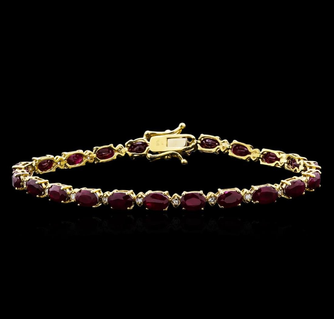 13.00 ctw Ruby and Diamond Bracelet - 14KT Yellow Gold
