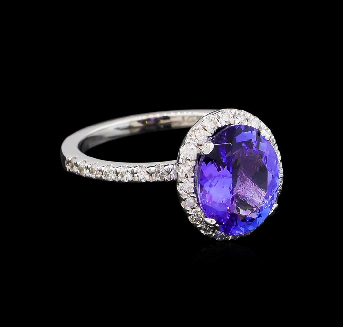 3.09 ctw Tanzanite and Diamond Ring - 14KT White Gold