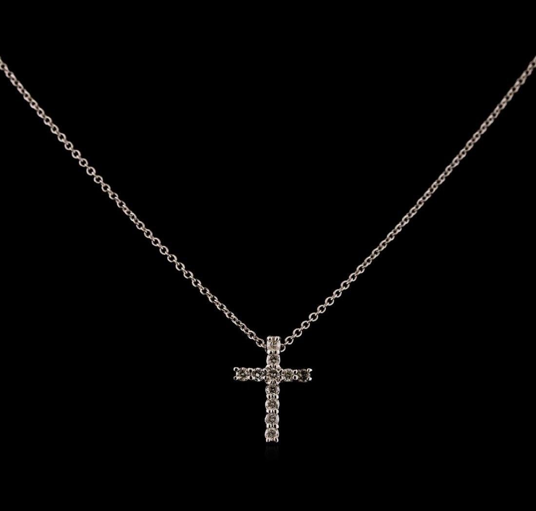 0.31 ctw Diamond Cross Pendant With Chain - 14KT White