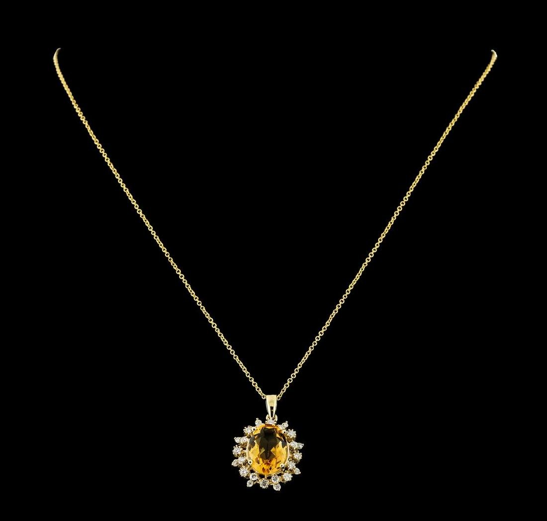 4.83 ctw Citrine and Diamond Pendant With Chain - 14KT