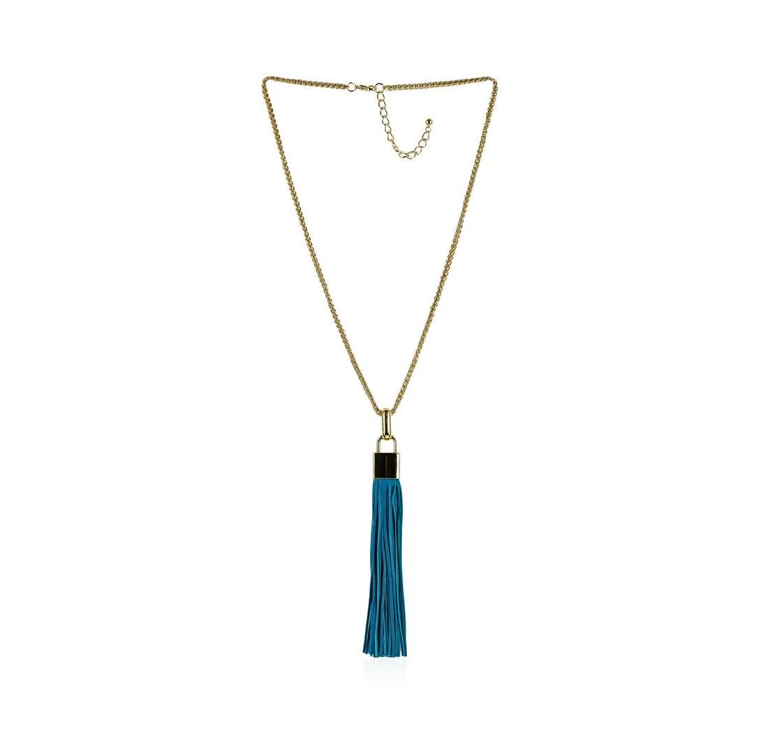 Leather Tassel Square Pendant Chain Necklace - Gold