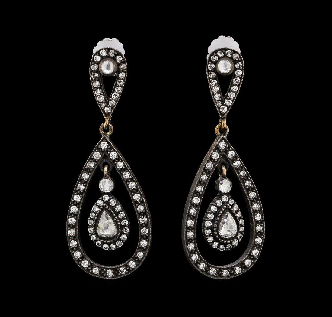 1.21 ctw Diamond Earrings - 14KT Rose With Black