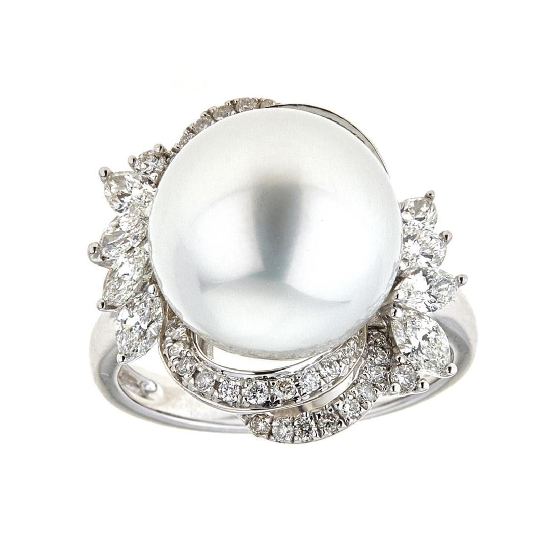 14.11 ctw South Sea Pearl and Diamond Ring - 18KT White