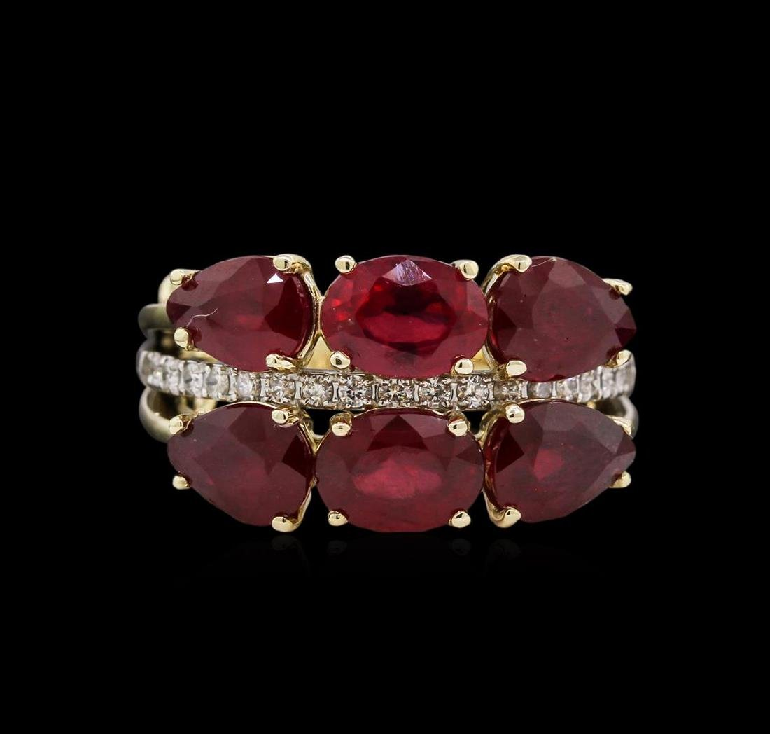 5.75 ctw Ruby and Diamond Ring - 14KT Yellow Gold - 2