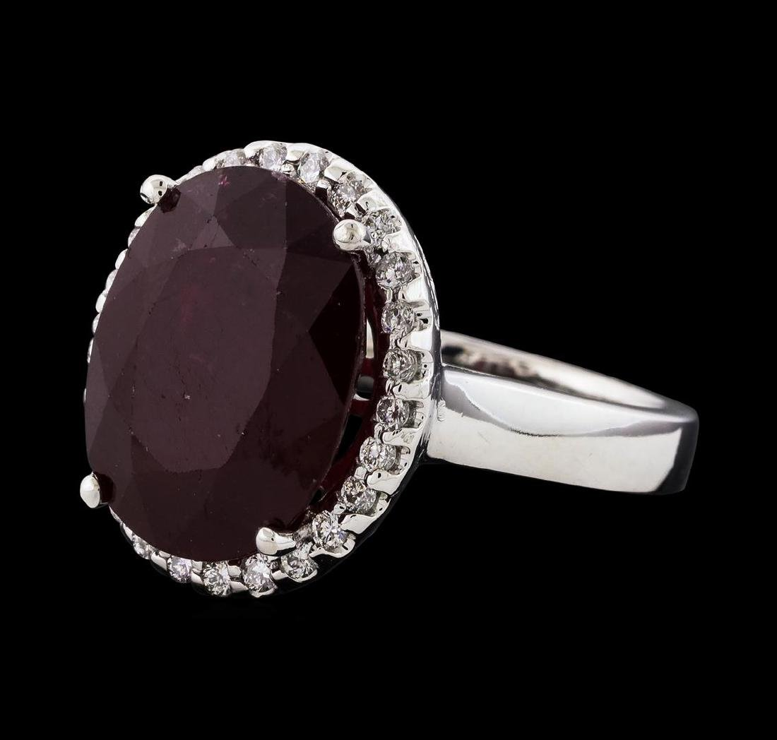12.04 ctw Ruby and Diamond Ring - 14KT White Gold