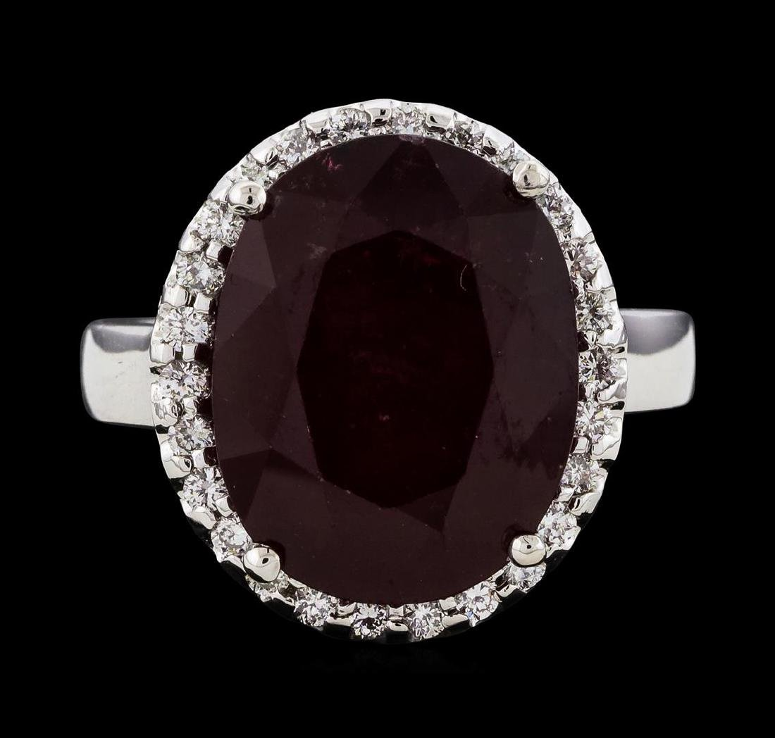 12.04 ctw Ruby and Diamond Ring - 14KT White Gold - 2