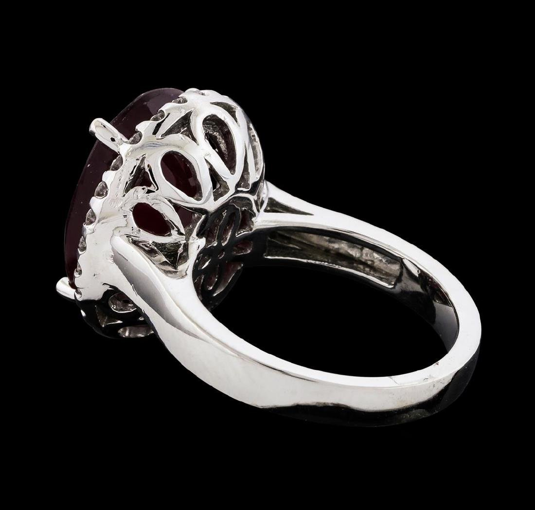 12.04 ctw Ruby and Diamond Ring - 14KT White Gold - 3
