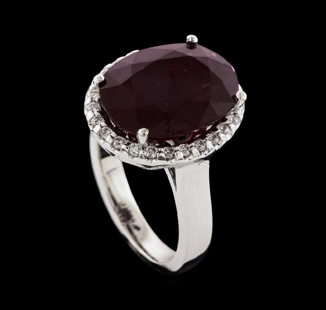 12.04 ctw Ruby and Diamond Ring - 14KT White Gold - 4