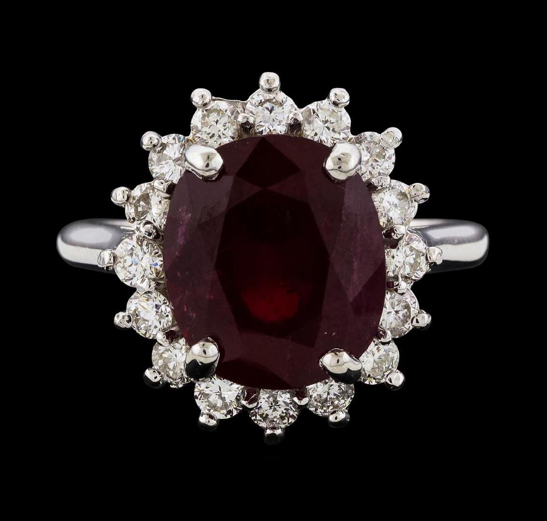 7.28 ctw Ruby and Diamond Ring - 14KT White Gold - 2