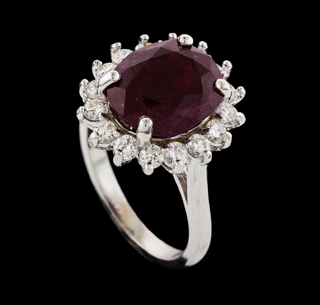 7.28 ctw Ruby and Diamond Ring - 14KT White Gold - 4
