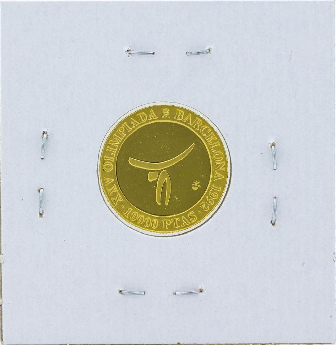 1990 Spain 10000 Pesetas Barcelona Olympics Gold Coin - 2