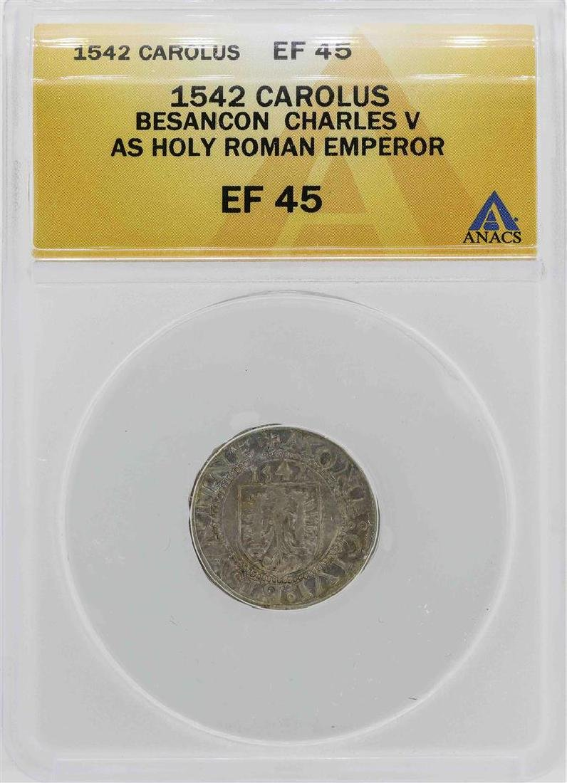 1542 Besancon Charles V Holy Roman Emperor Coin ANACS