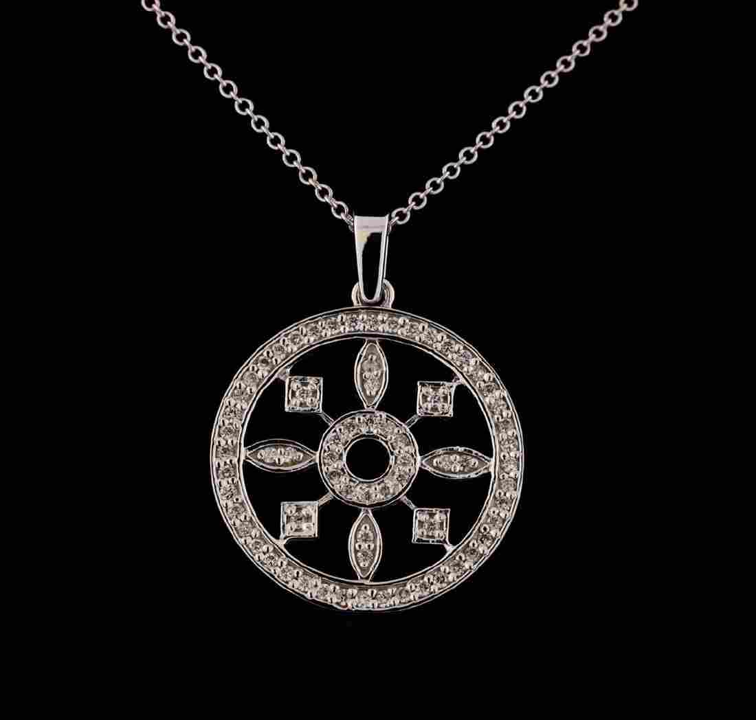 0.44 ctw Diamond Pendant With Chain - 14KT White Gold
